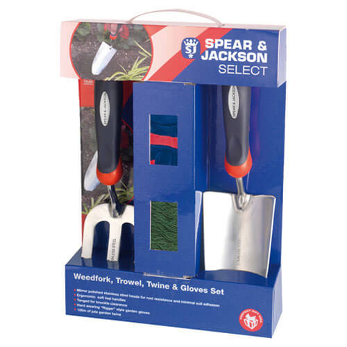 Spear & Jackson Select Stainless Steel 2 Piece Hand Trowel & Weedfork Set with Twine & Gloves