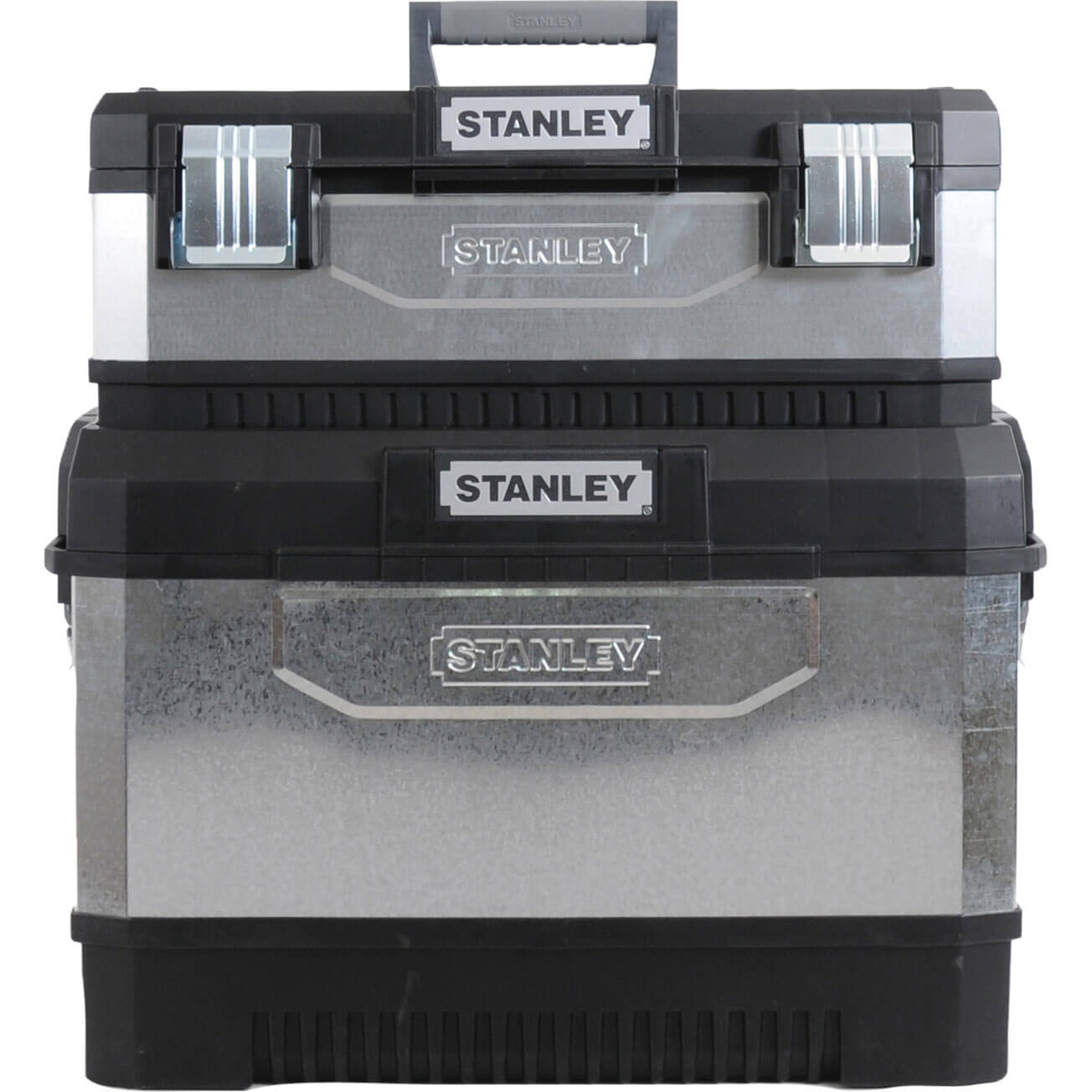 Stanley Galvanised Metal Rolling Work Centre Tool Box with Wheels Grey & Black 575mm / 23