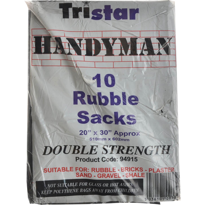 Tristar Heavy Duty Black Rubble Sacks 51cm x 76cm Pack of 10