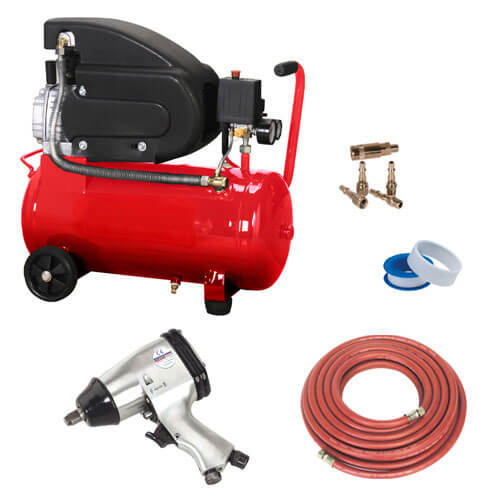 Electric Air Compressor with 50L Tank Wheels & Mechanics Kit 2hp 240v