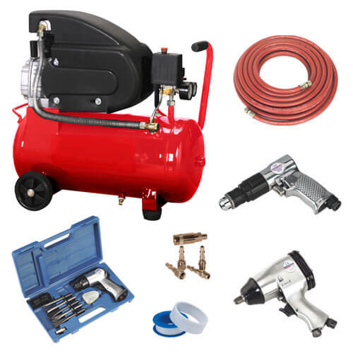 Electric Air Compressor with 24L Tank Wheels & Workshop Kit 2hp 240v