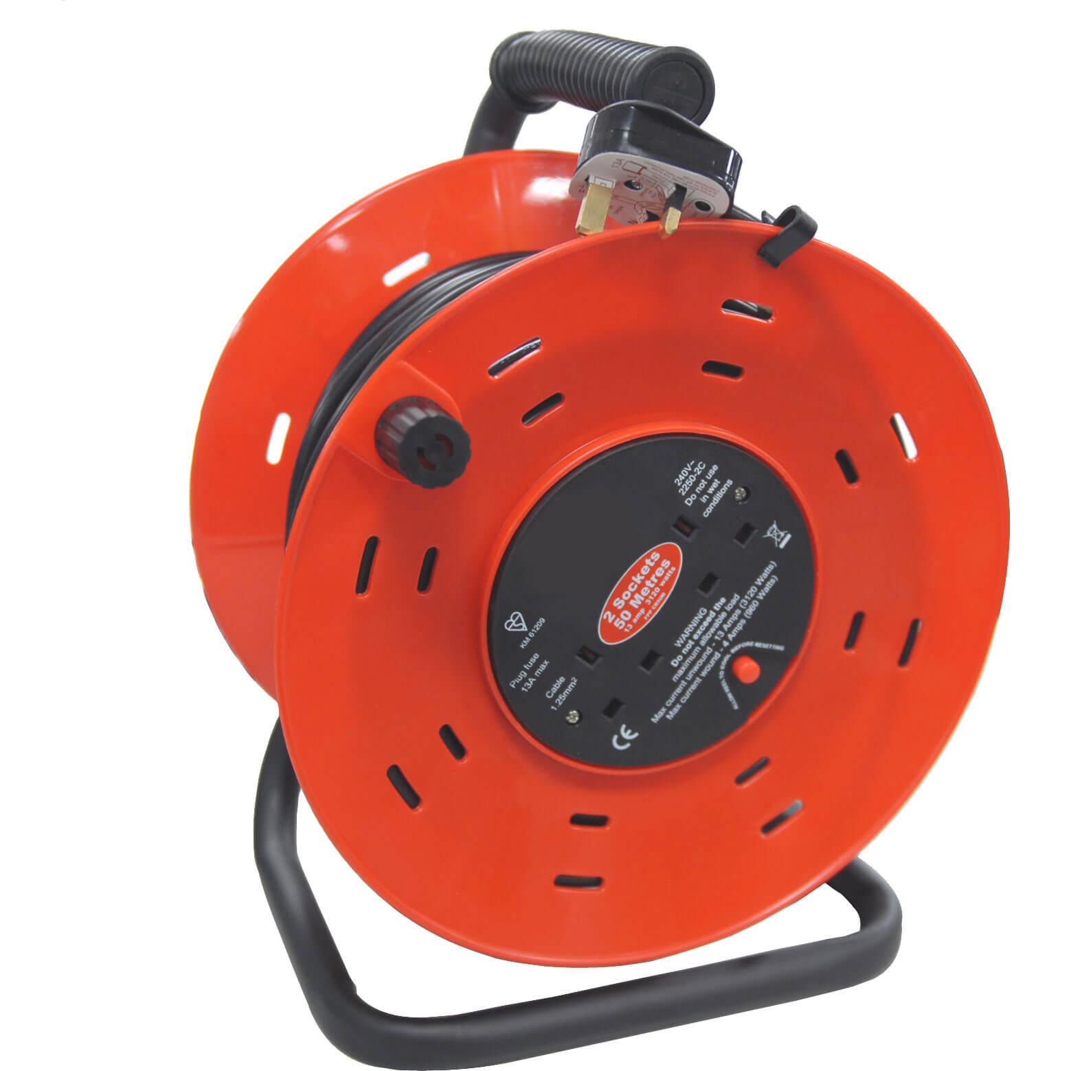 50m 2 Socket Heavy Duty Cable Extension Reel 13amp 240v