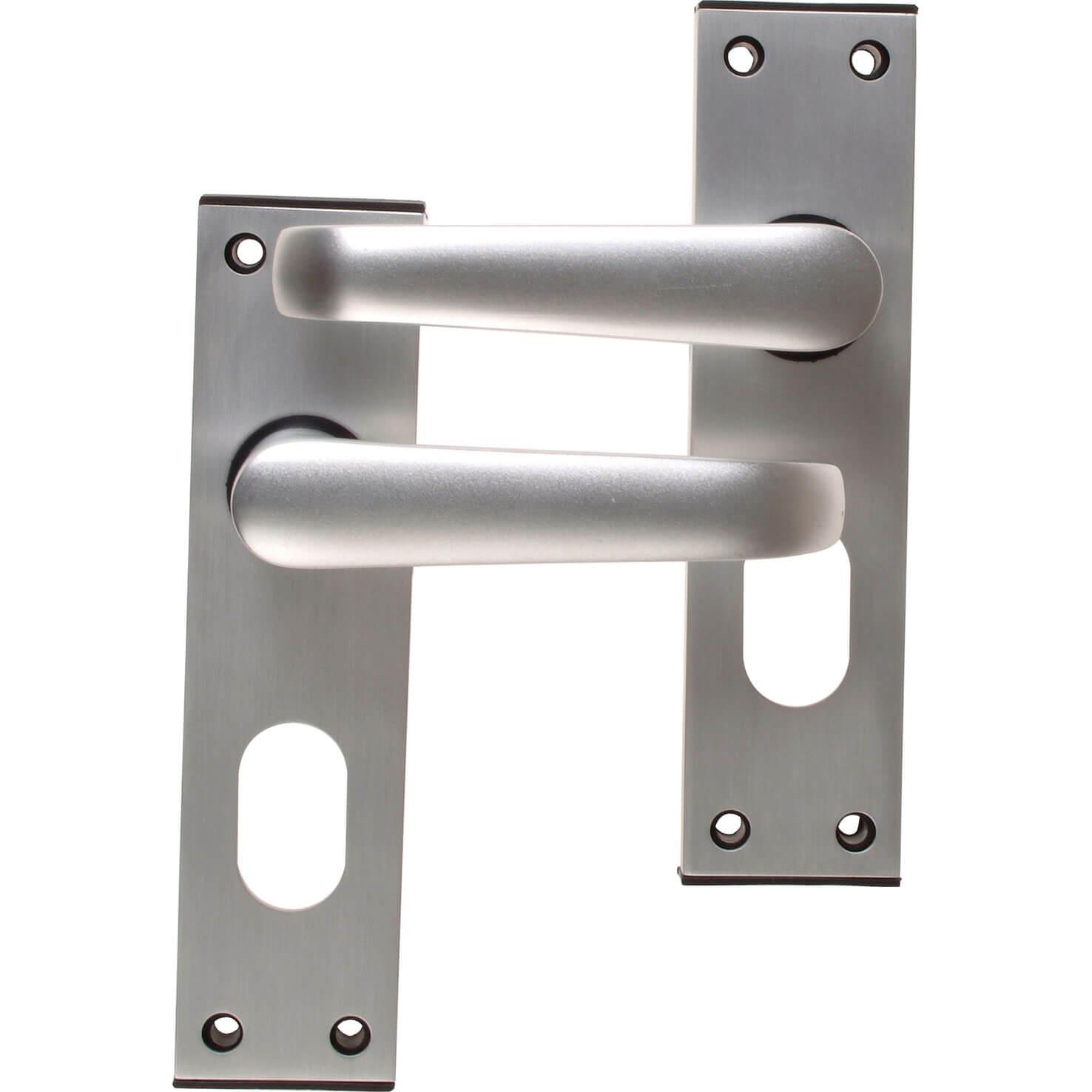 Union Locks Ambassador Oval Plate Door Furniture Anodised Silver