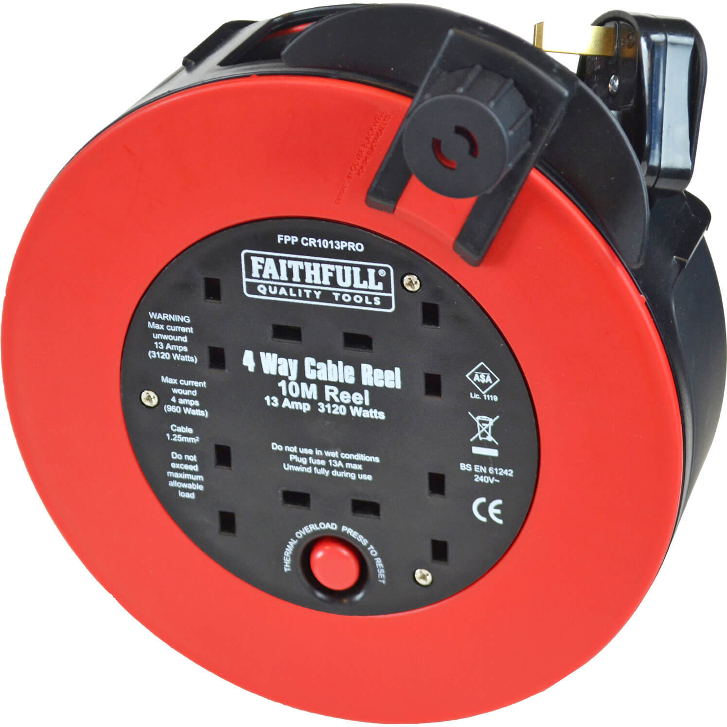 Faithfull 4 Socket Fast Rewind Cable Reel 10m 13amp 240v
