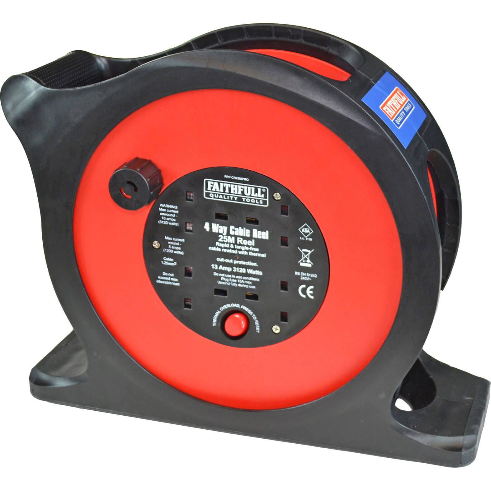 Faithfull 4 Socket Anti Tangle Cable Reel 25m 13amp 240v