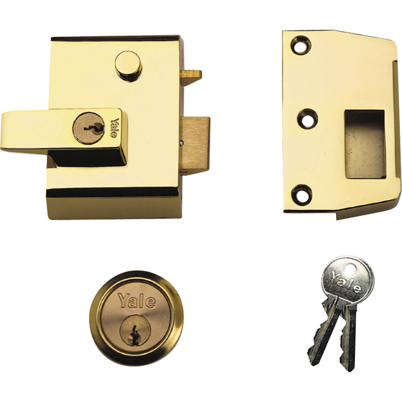 Yale Locks P2 Double Security Nightlatch Brasslux Finish 40mm Backset