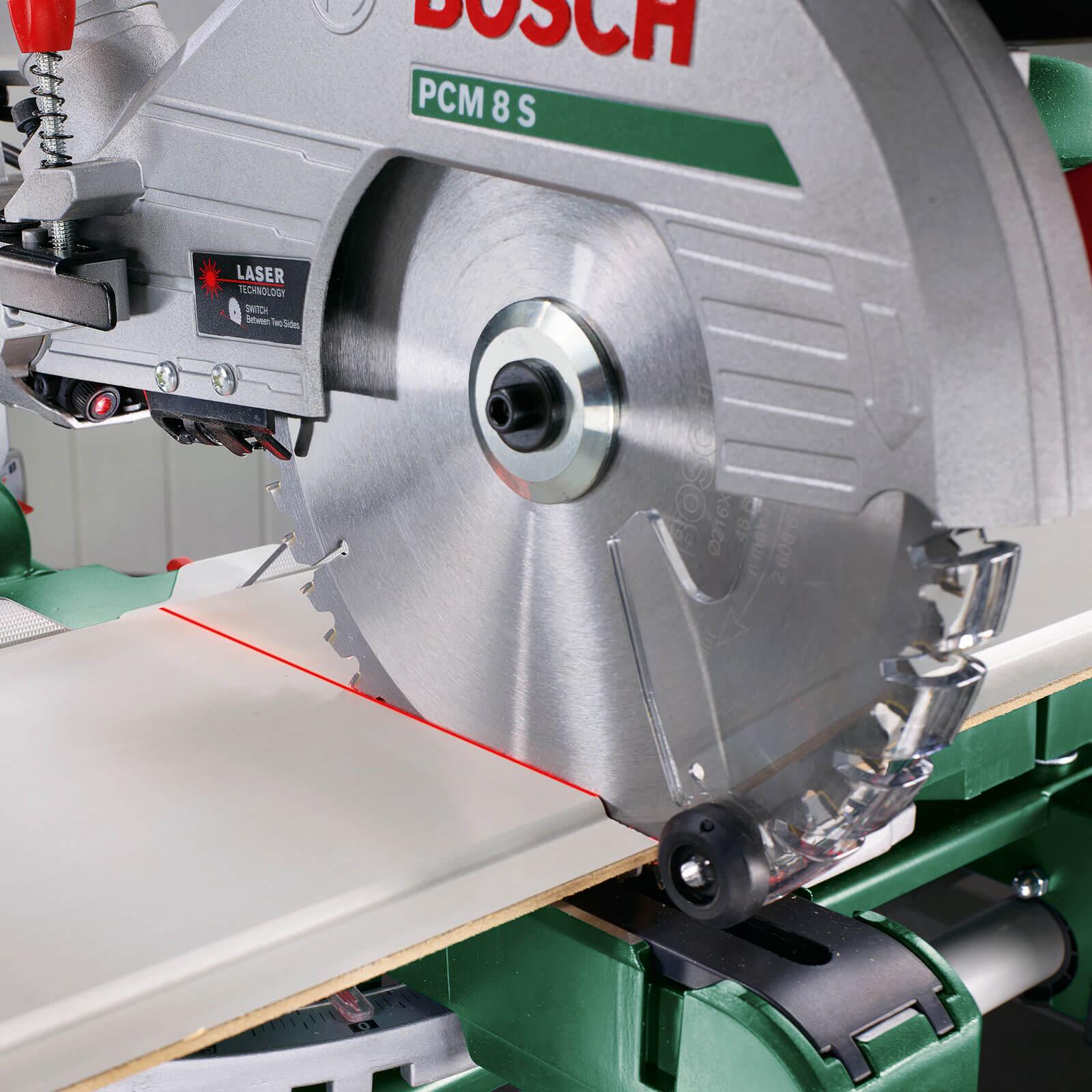 bosch pcm 8 s sliding compound mitre saw with laser guide 216mm blade 1200w 240v tooled. Black Bedroom Furniture Sets. Home Design Ideas