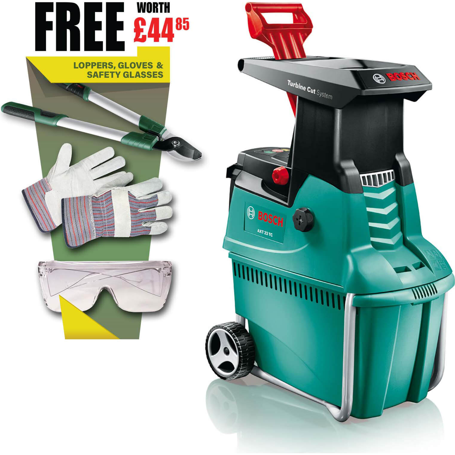 bosch axt 25 tc turbine cutting 3 in 1 garden shredder 45mm capacity 2500w 240v free fiskars. Black Bedroom Furniture Sets. Home Design Ideas