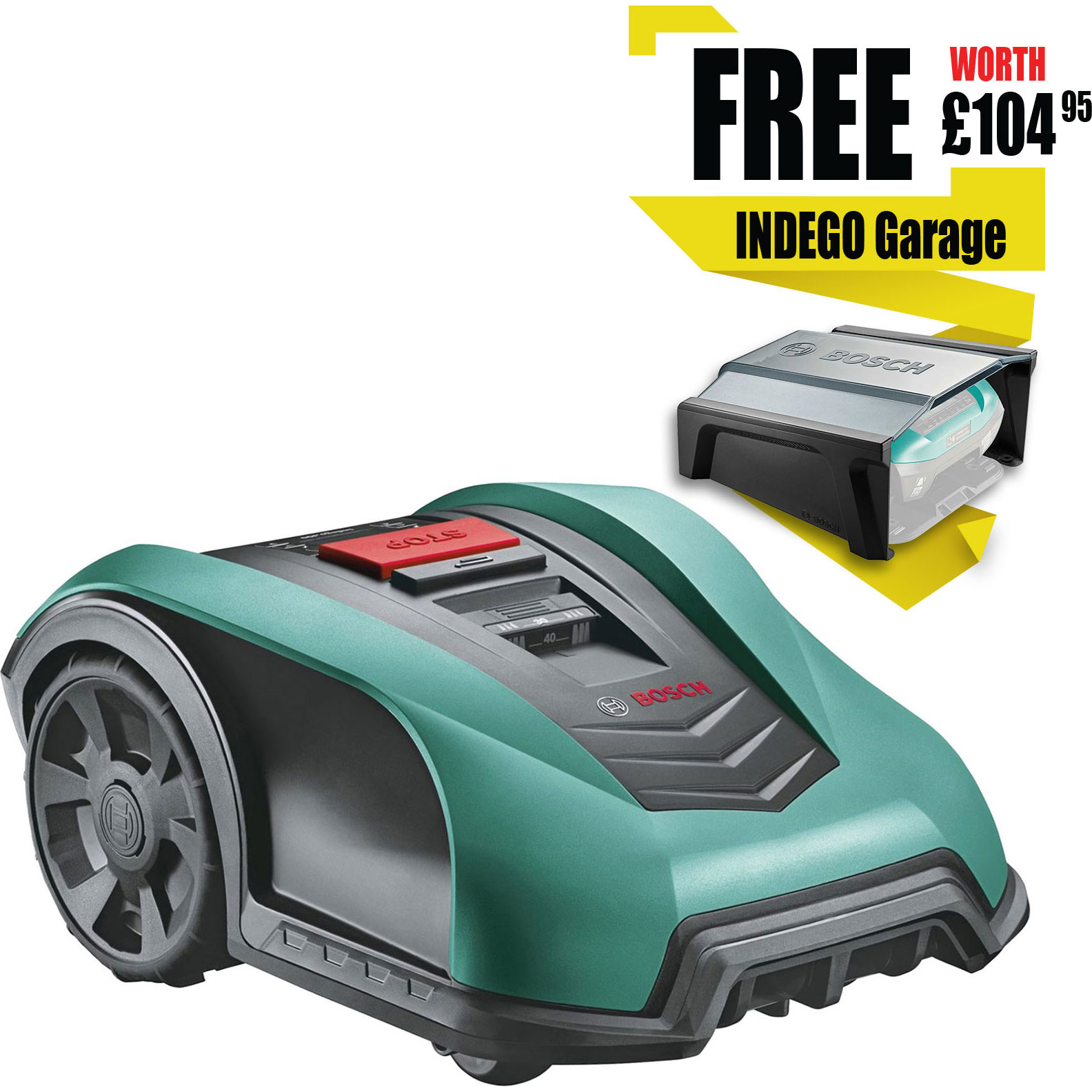 Image of Bosch Indego 350 18v Cordless Robotic Lawnmower 190mm 1 x 2.5ah Integrated Li-ion Charger