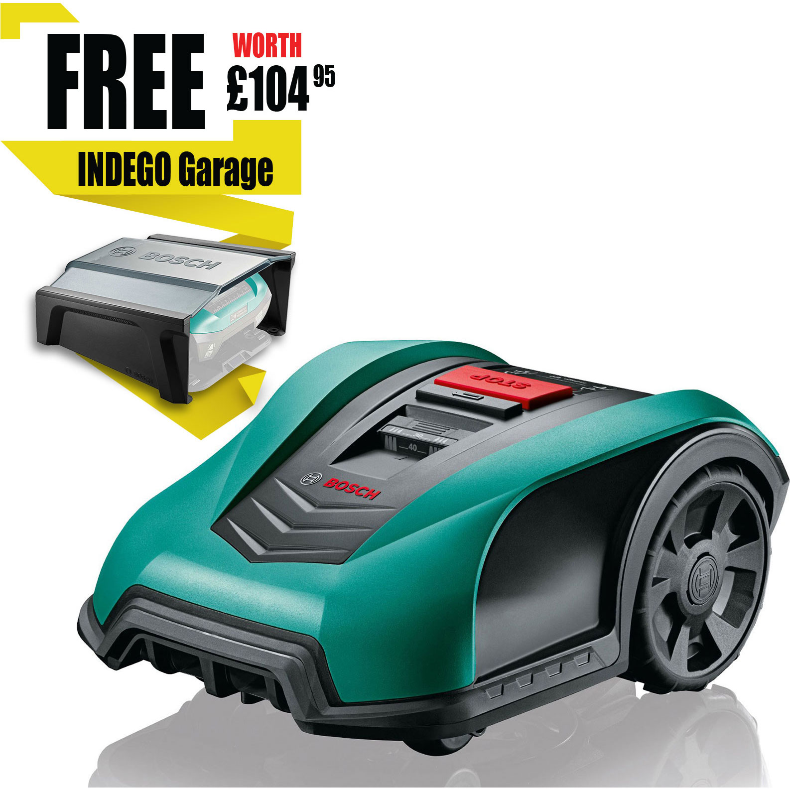 Image of Bosch INDEGO 400 CONNECT 18v Cordless Robotic Lawnmower 190mm 1 x 2.5ah Integrated Li-ion Charger