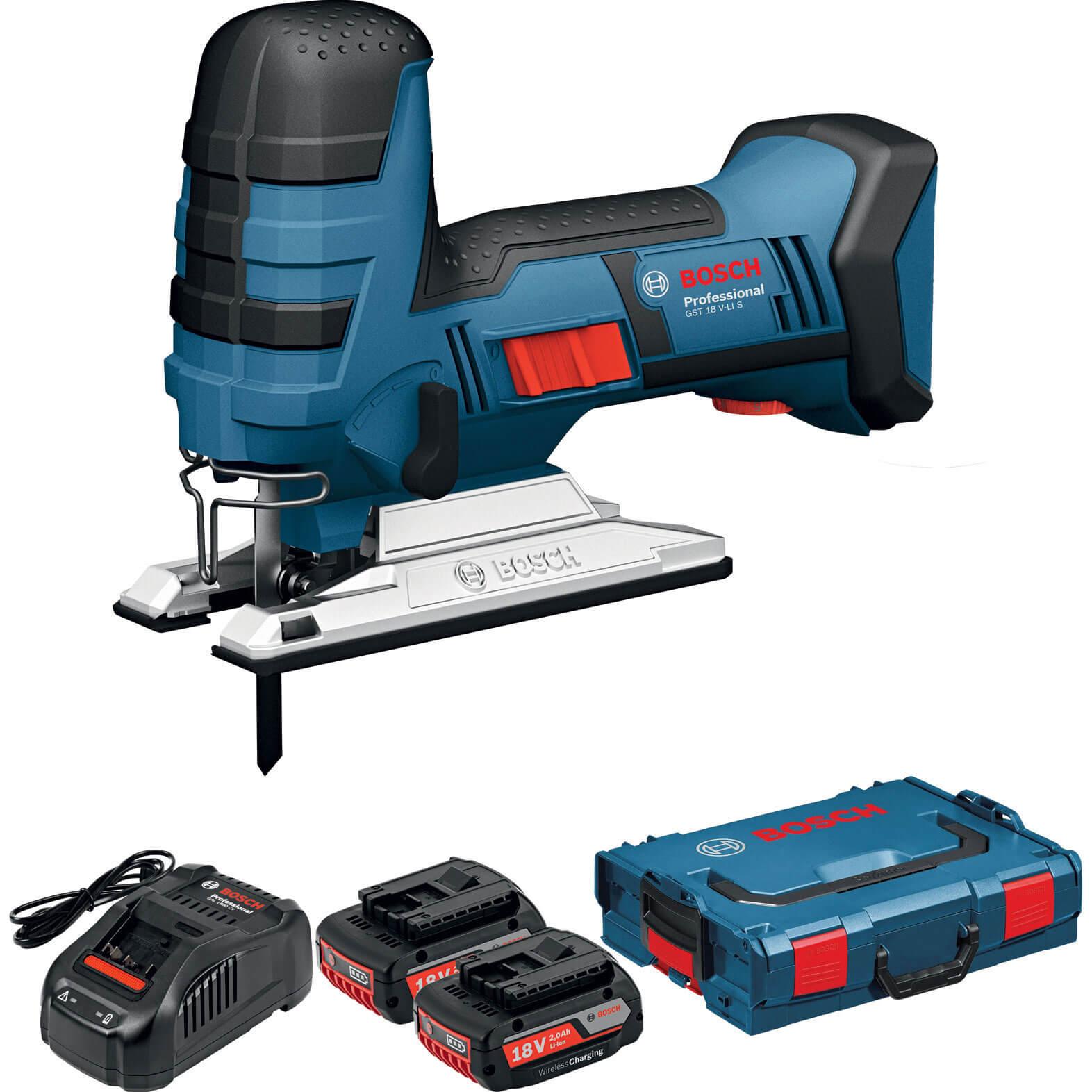 bosch gst 18 v li s 18v cordless jigsaw 2 x 5ah li ion charger case. Black Bedroom Furniture Sets. Home Design Ideas