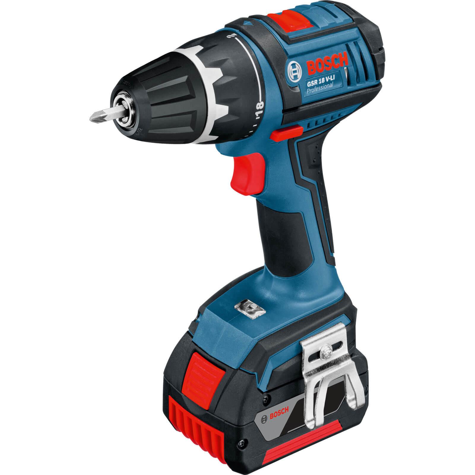 Bosch GSR 18 VLI 18v Cordless Drill Driver 2 x 1.3ah Liion Charger Case