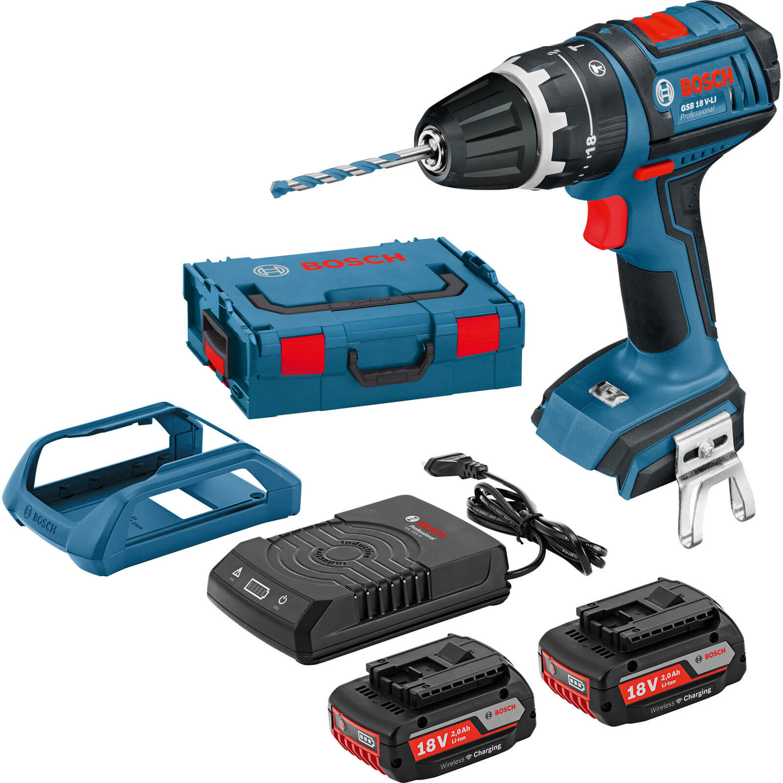 Bosch 18V Cordless Dynamicseries Wireless Combi Drill 2 x 2ah Liion Charger Case