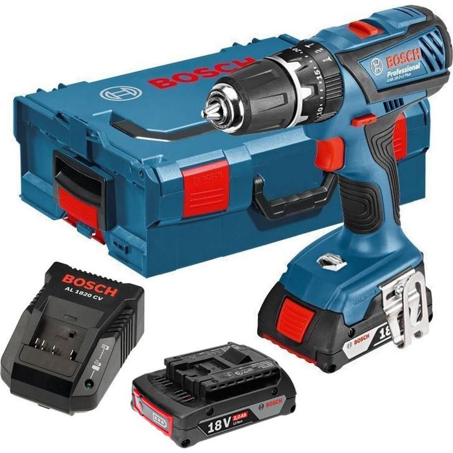 Bosch GSB 182LI Plus 18v Cordless Combi Drill 2 x 2ah Liion Charger Case
