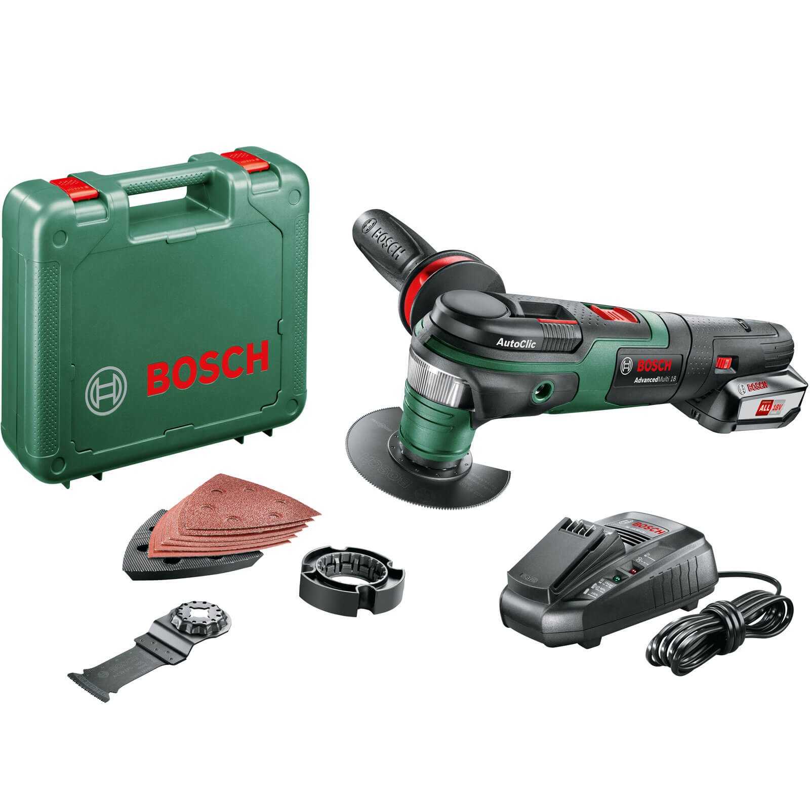 bosch advancedmulti 18v cordless oscillating multi tool 1 x li ion charger case. Black Bedroom Furniture Sets. Home Design Ideas