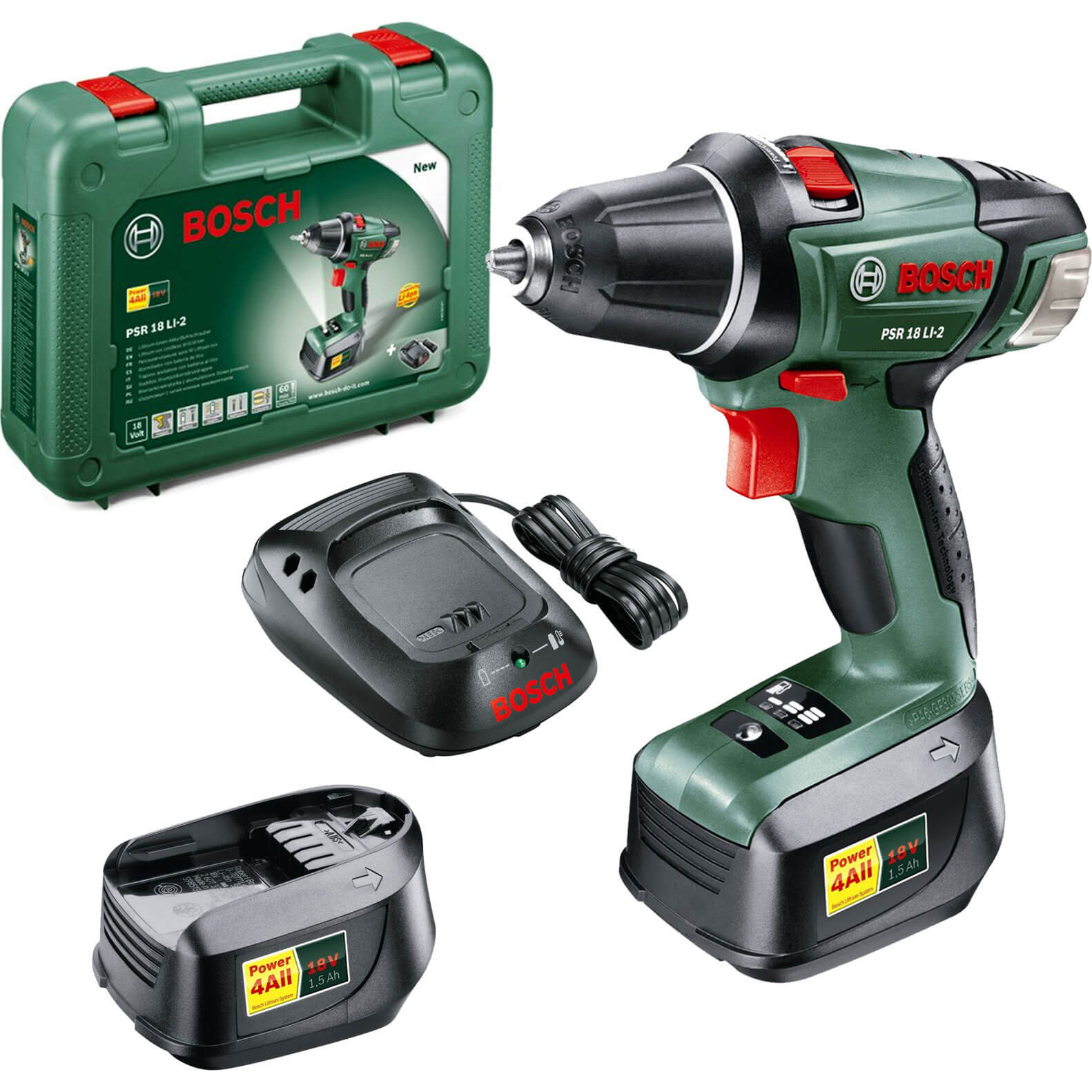 bosch power4all psr 18 li 2 18v cordless compact drill driver with 2 li ion batteries. Black Bedroom Furniture Sets. Home Design Ideas