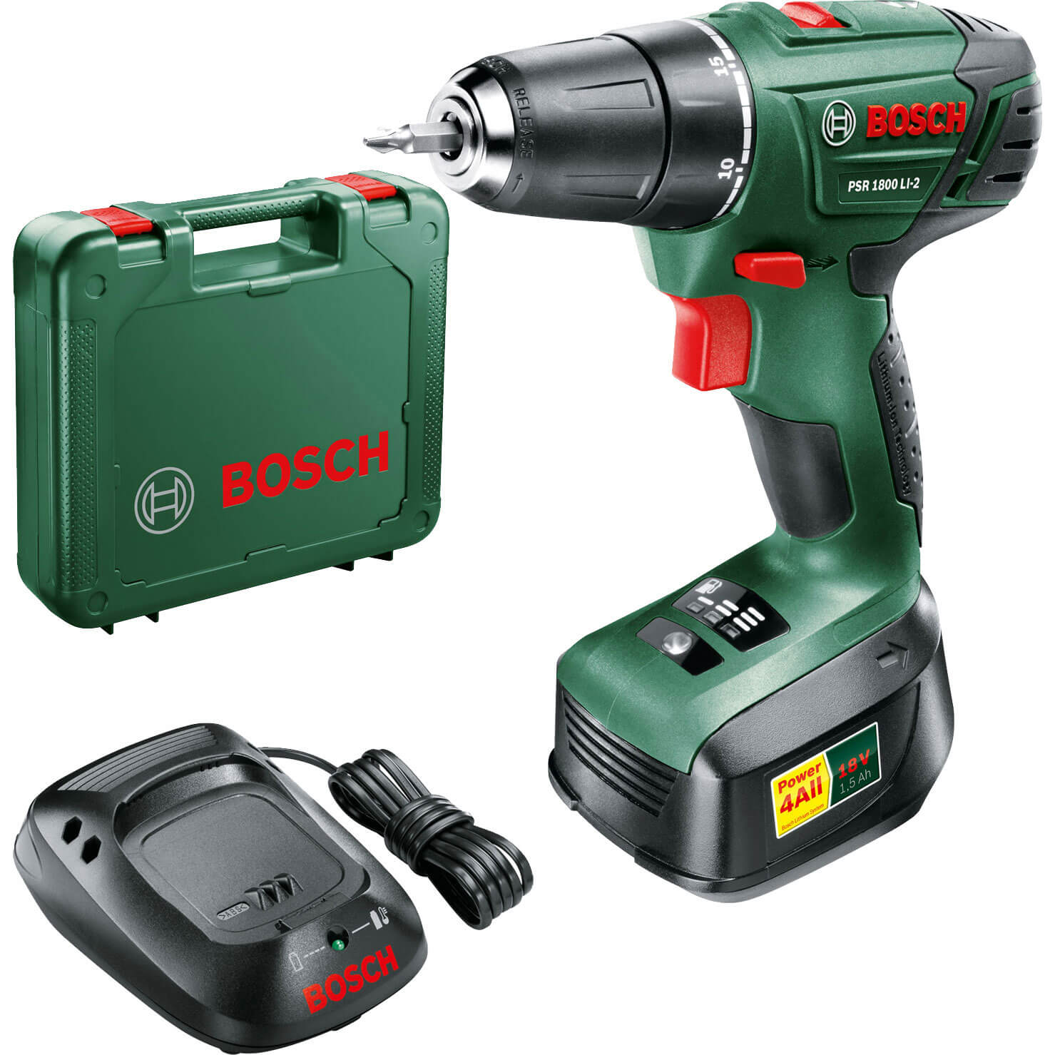 drill drivers bosch power4all psr 1800 li 2 18v cordless. Black Bedroom Furniture Sets. Home Design Ideas