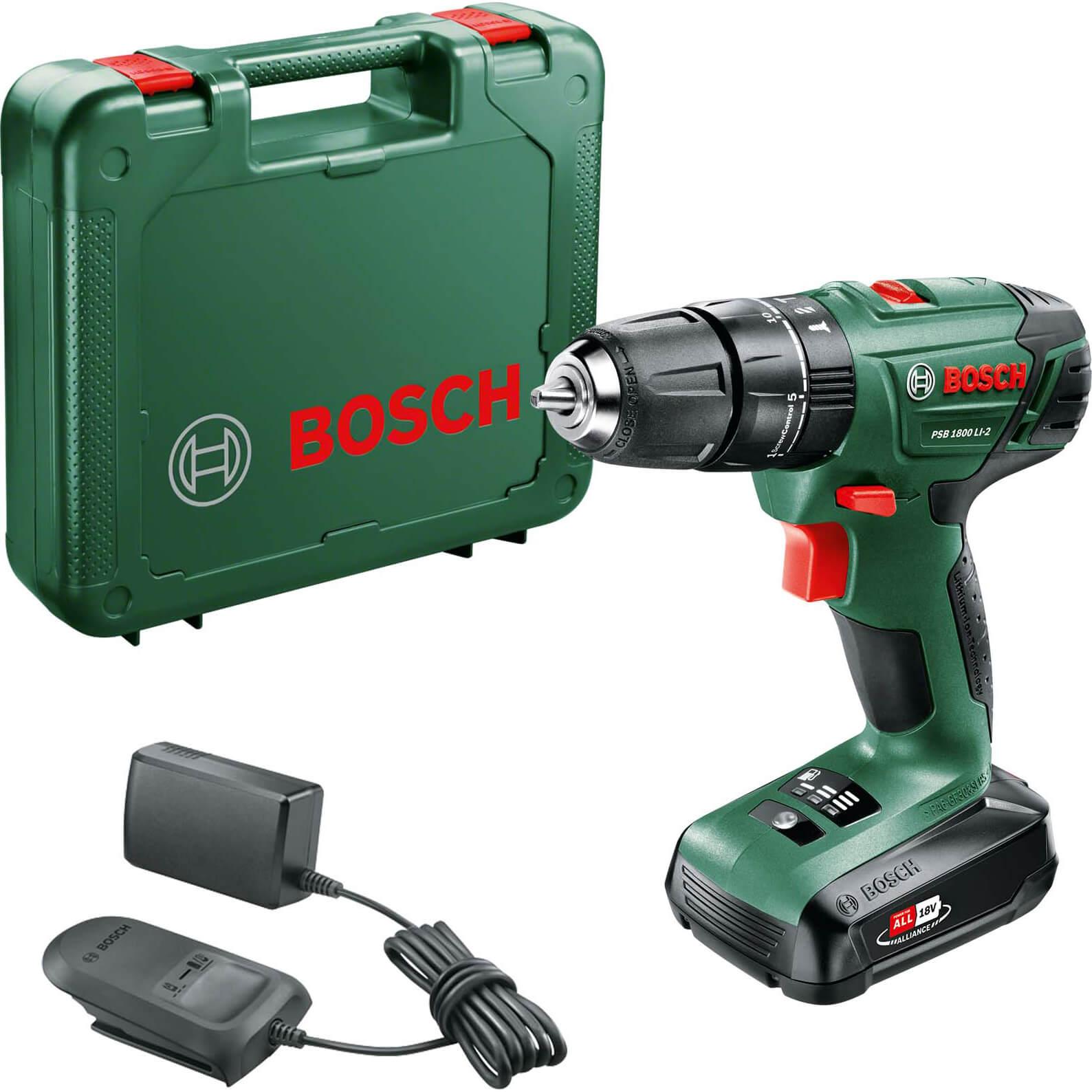Bosch PSB 1800 LI2 18v Cordless Combi Drill 1 x 1.5ah Liion Charger Case