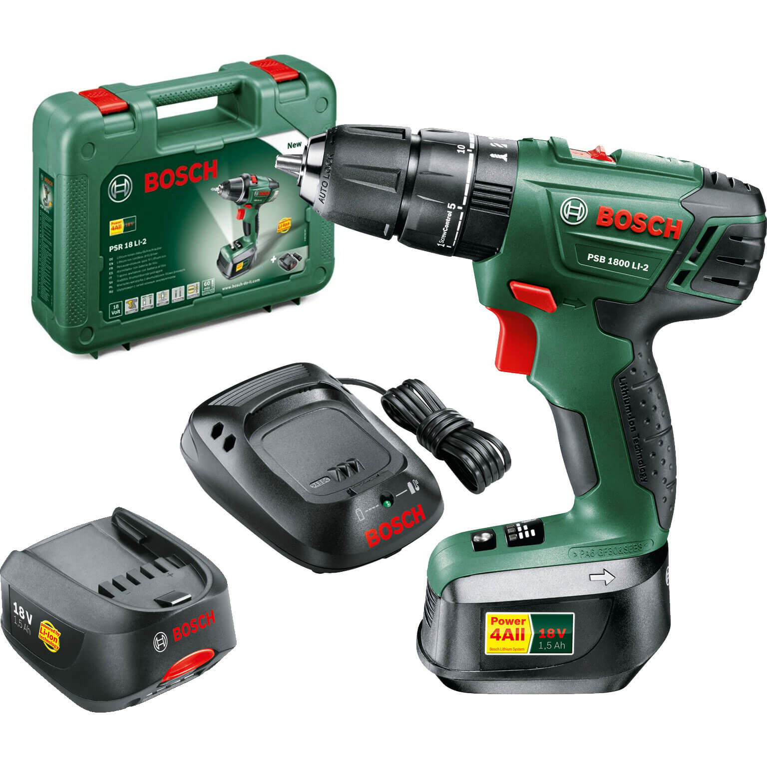 combi drills bosch gsb 18 v li 18v cordless dynamicseries 2 speed combi drill with 1 lithium. Black Bedroom Furniture Sets. Home Design Ideas