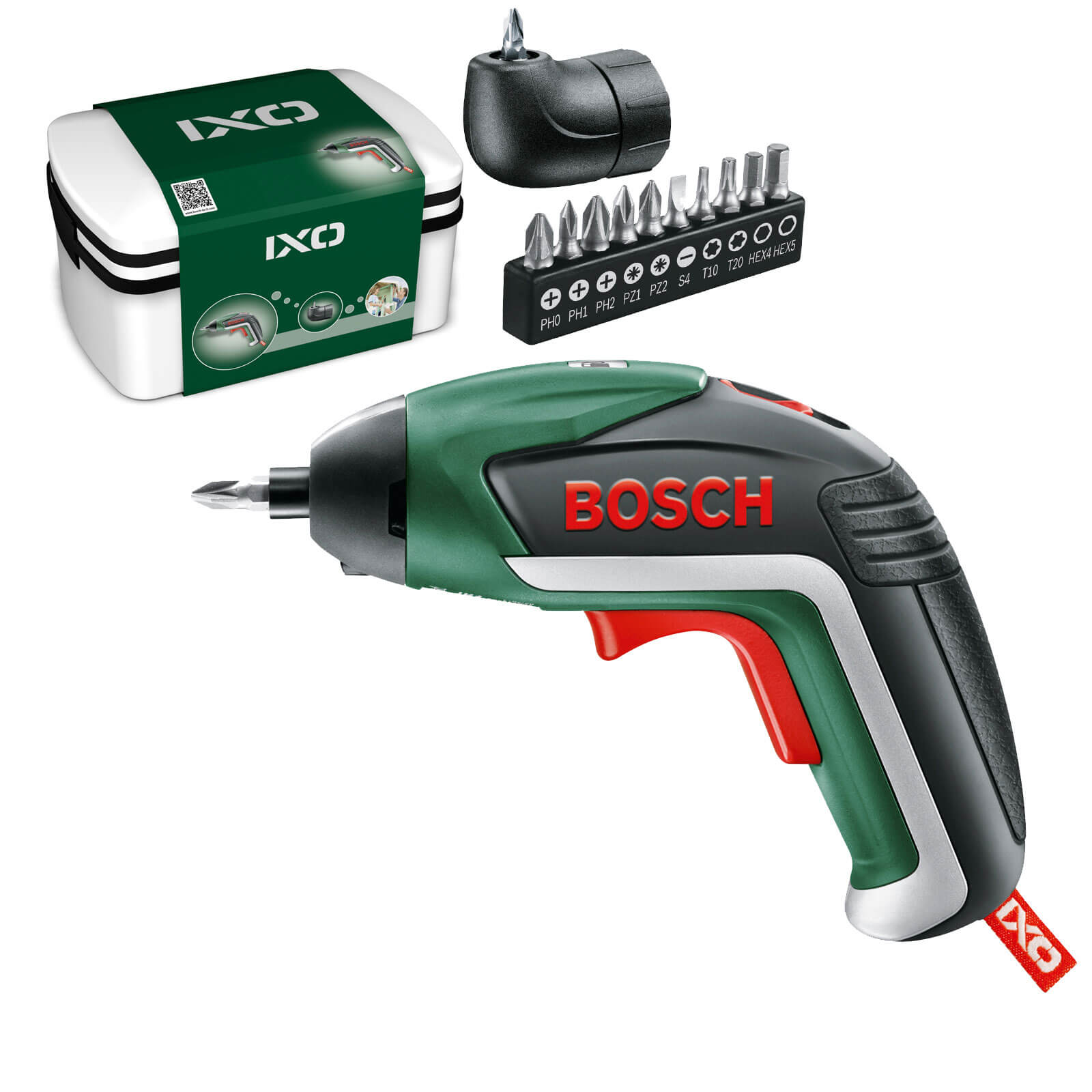 Bosch IXO V 3.6v Cordless Screwdrive & Right Angle Adaptor 1 x 1.5ah Integrated Liion Charger Case