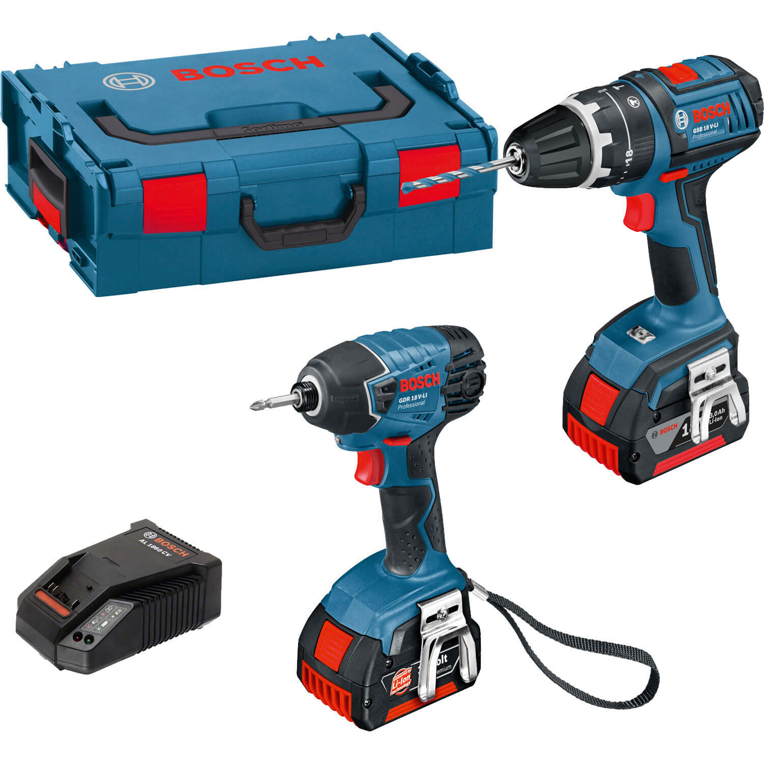 Bosch 18V Cordless Dynamicseries Combi Drill & Impact Driver 2 x 4ah Liion Charger Case