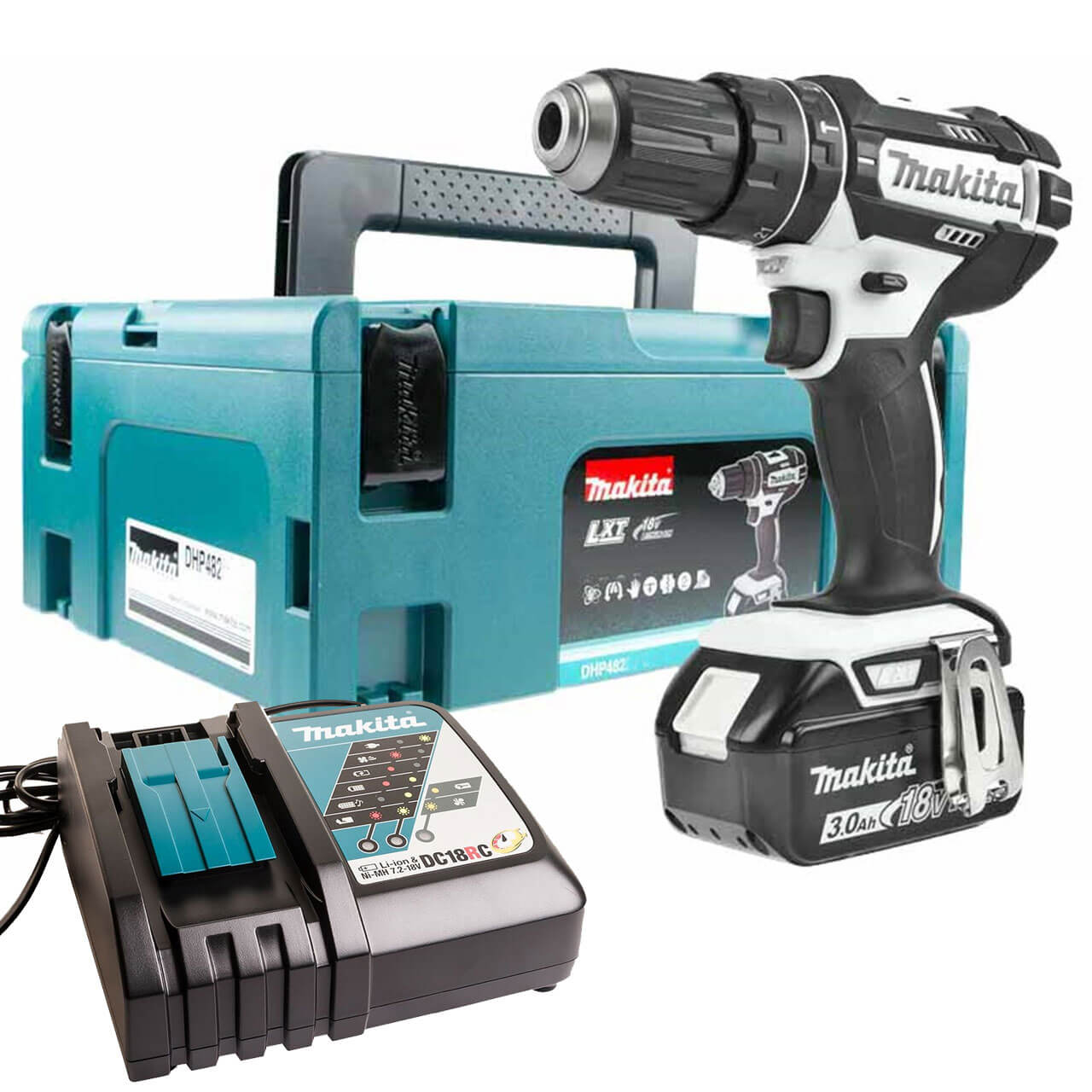 makita dhp482 18v lxt cordless combi drill 1 x 3ah li ion charger case. Black Bedroom Furniture Sets. Home Design Ideas