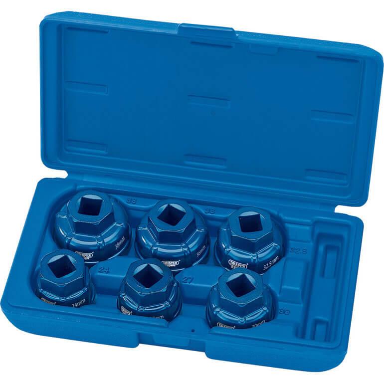 Draper Expert 6 Piece 12 Drive Oil Filter Cap Socket Set 12