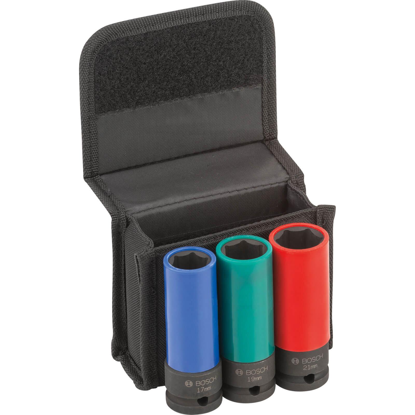 "Bosch 3 Piece 1/2"" Drive PVC Sleeved Hexagon Impact Socket Set Metric 1/2"""
