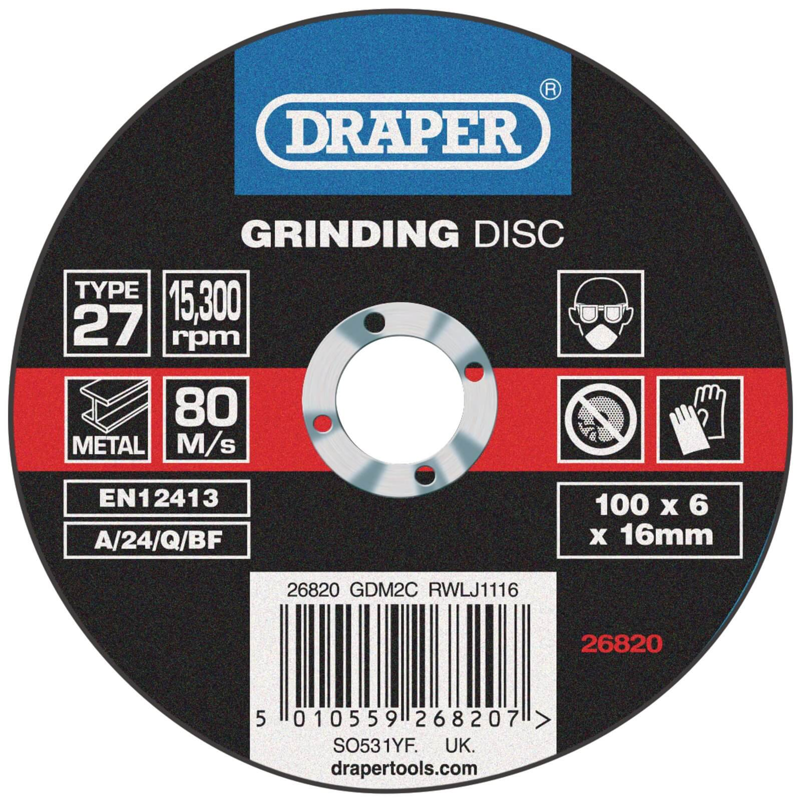 Image of Draper Depressed Centre Grinding Disc 100mm 6mm 16mm
