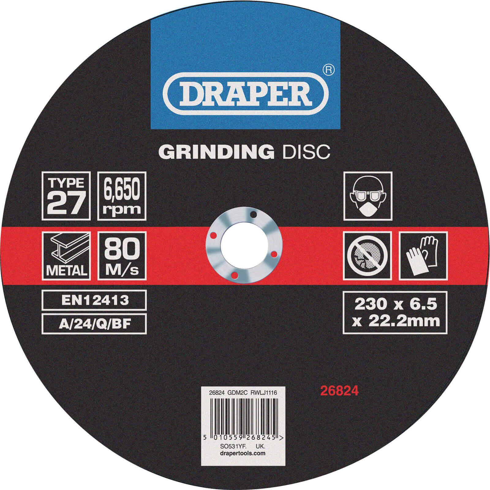 Image of Draper Depressed Centre Grinding Disc 230mm 6mm 22mm
