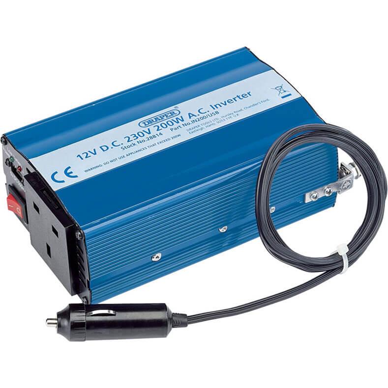 Draper IN200/USB 12v DC to 240v AC Power Inverter