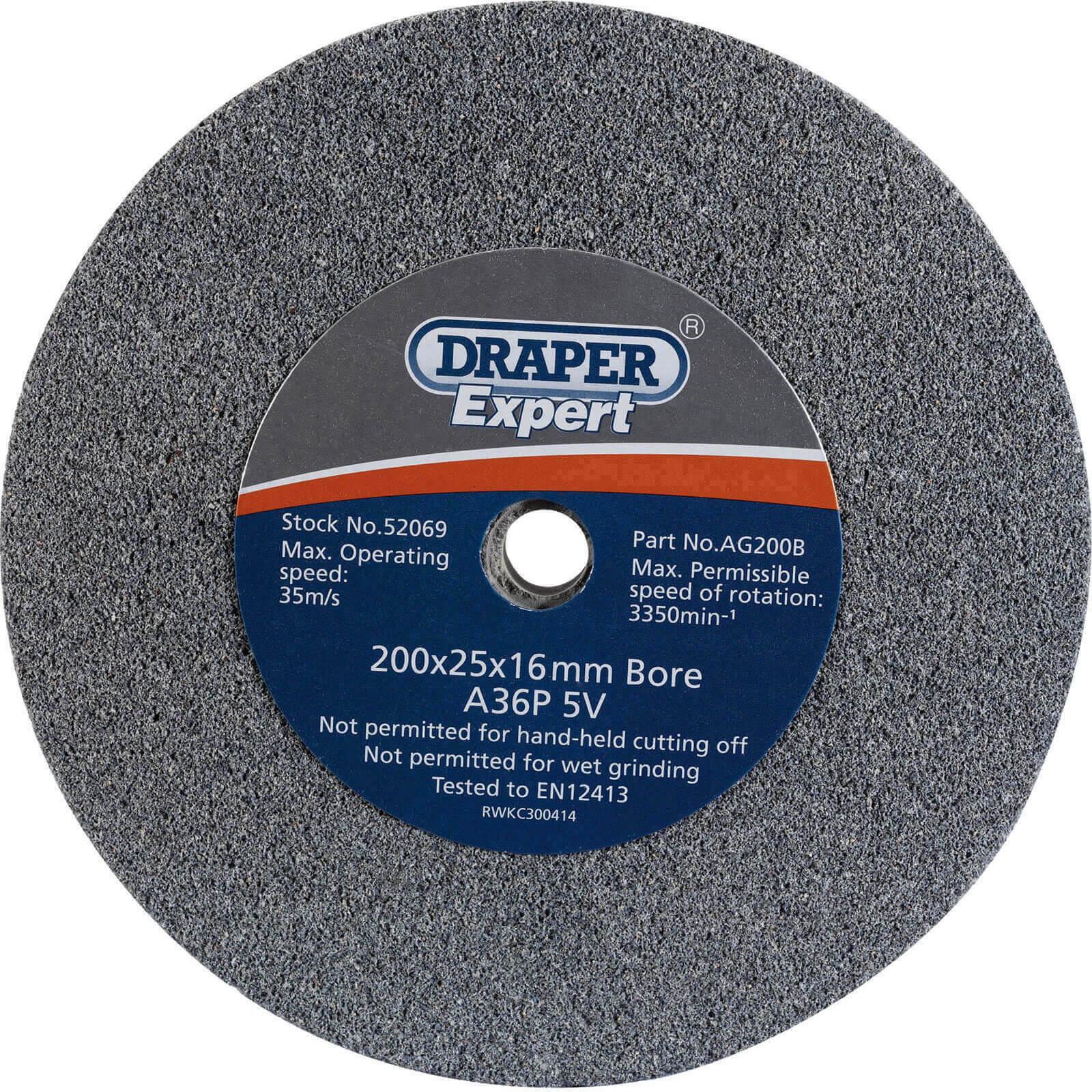 Image of Draper Expert Bench Grinding Wheel 200mm 25mm 30g