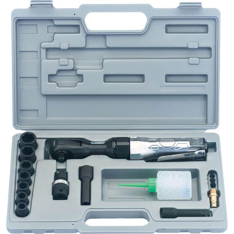 """Image of Draper 4204BK 15 Piece 3/8"""" Drive Reversible Air Ratchet + Ratchet Kit"""
