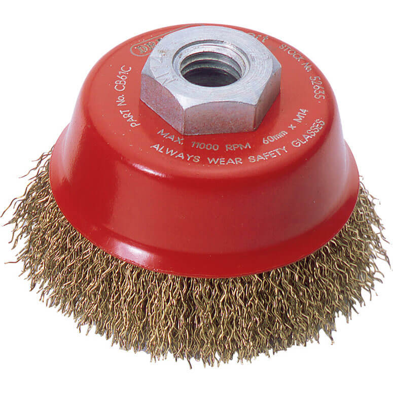 Image of Draper Expert Brassed Steel Wire Cup Brush 60mm M14 Thread