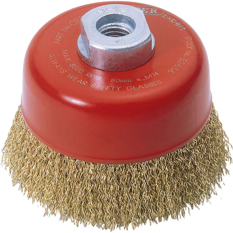 Image of Draper Expert Brassed Steel Wire Cup Brush 80mm M14 Thread