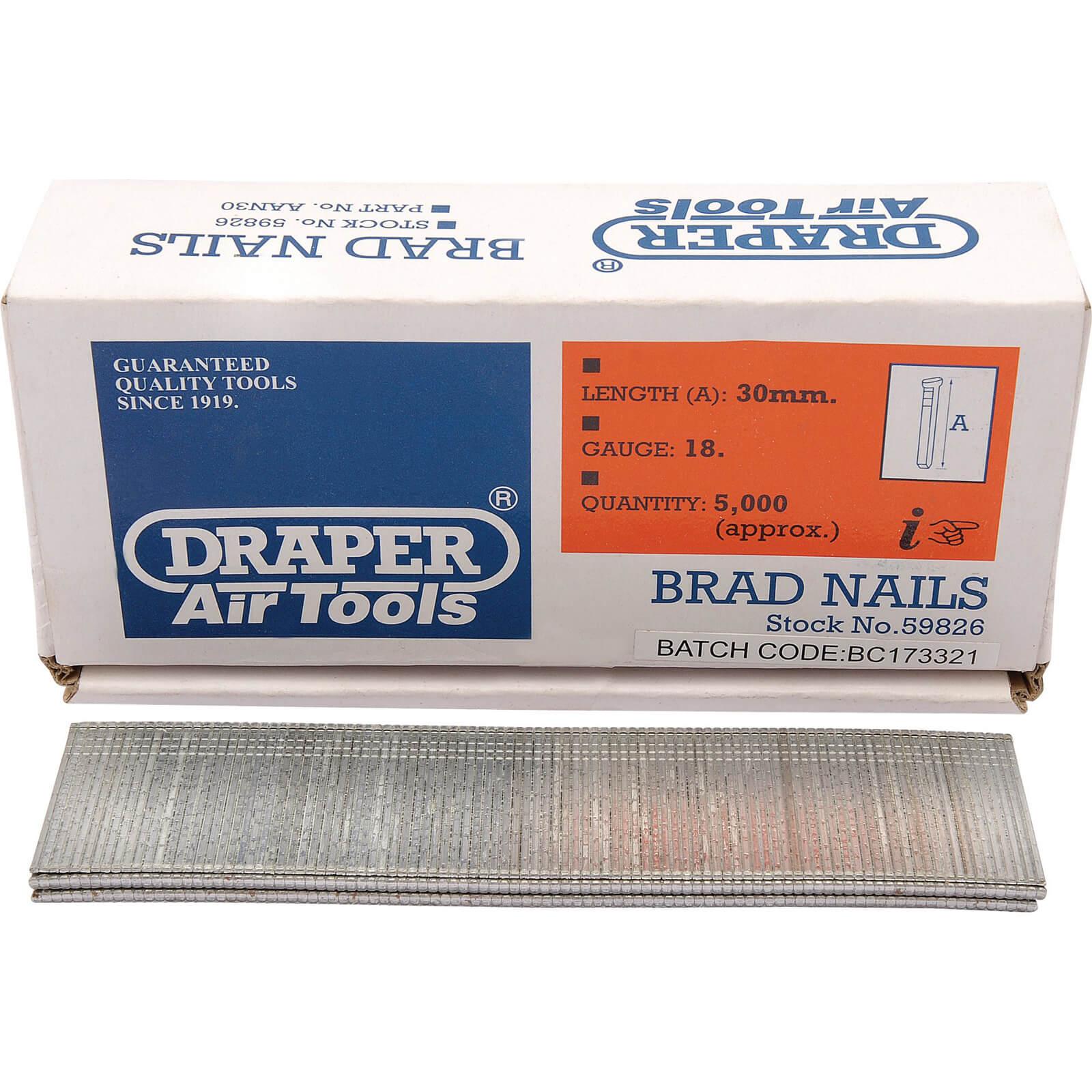 Draper 18 Gauge Brad Nails 30mm Pack of 5000