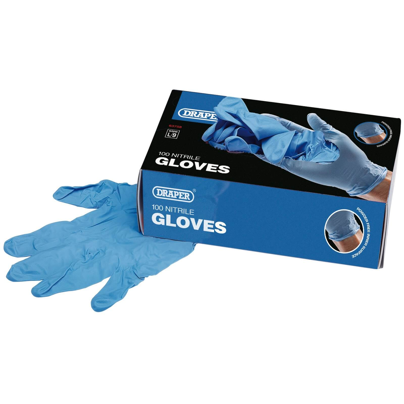 Image of Draper Nitrile Gloves L Pack of 100