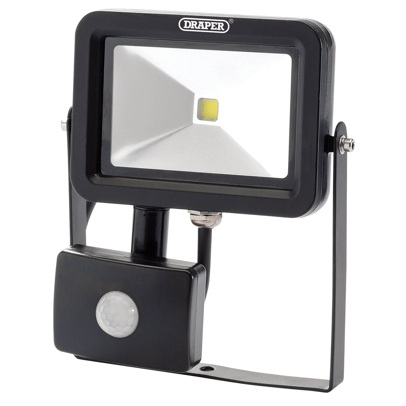 Image of Draper COB LED Slimeline Wall Mounted Floodlight With PIR 10 Watts