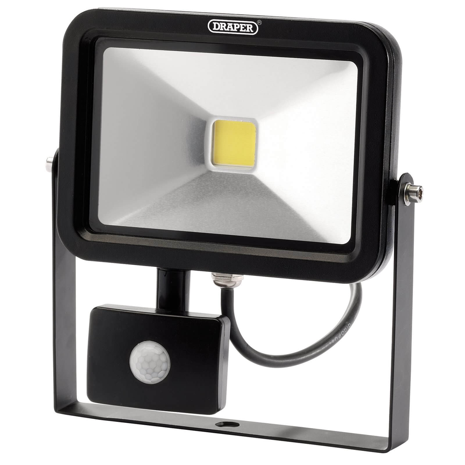 Image of Draper COB LED Slimeline Wall Mounted Floodlight With PIR 20 Watts