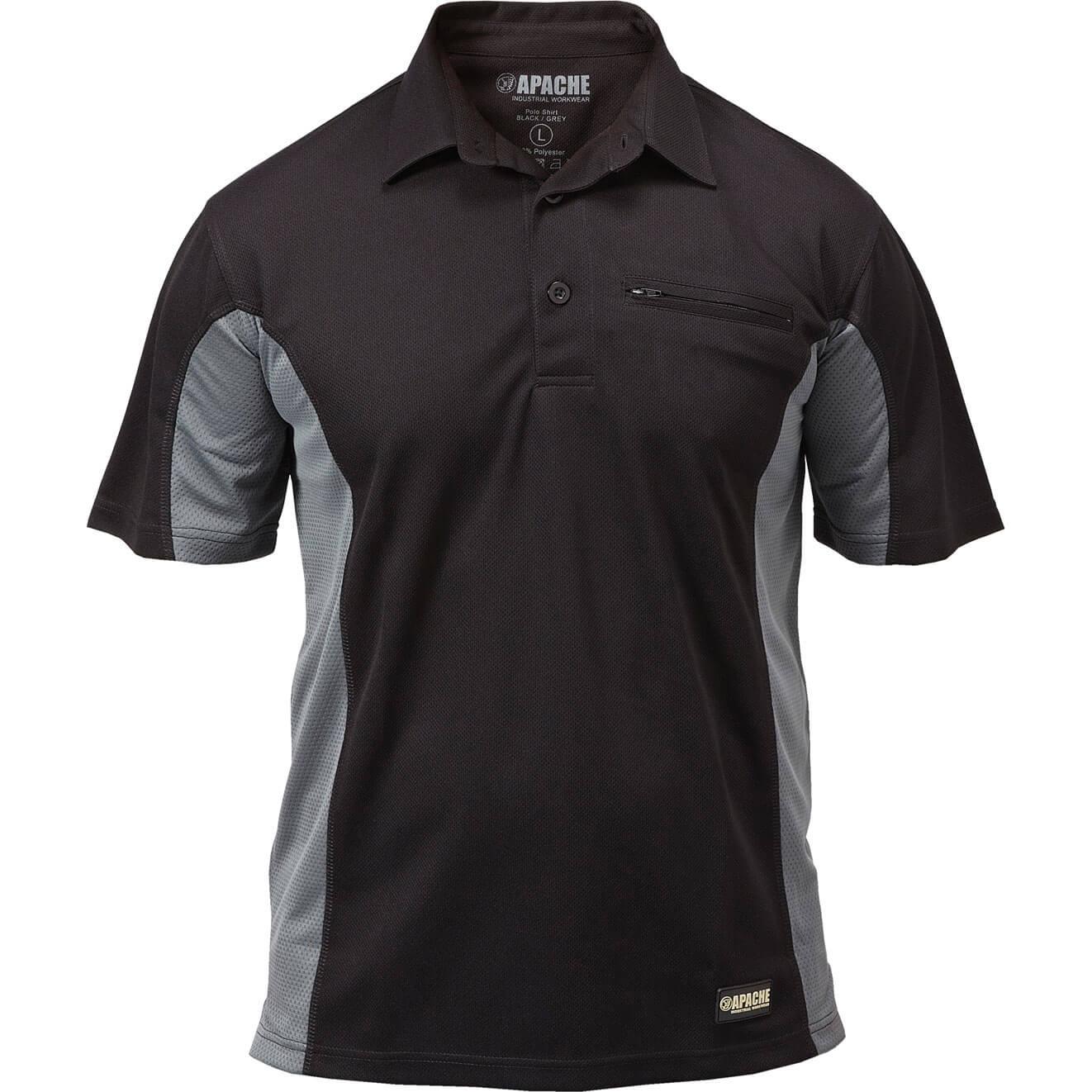 Image of Apache Mens Dry Max Polo Shirt Black / Grey L