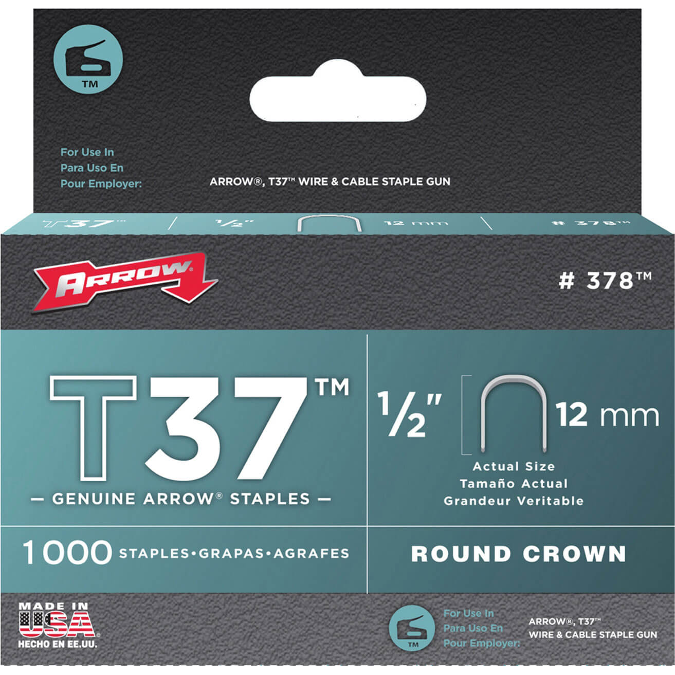 Arrow T37 Round Crown Staples 12mm Pack of 1000