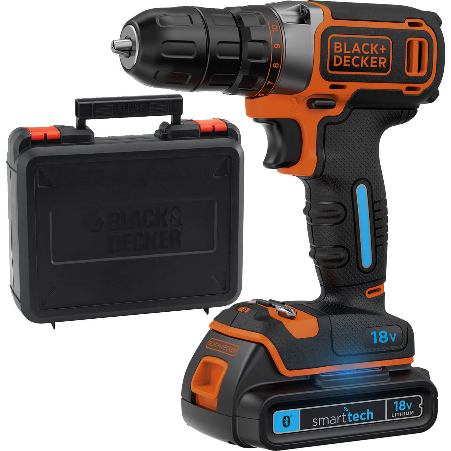 Black & Decker BDCDC18KST 18v Cordless Smart Tech Drill Driver 1 x 1.5ah Liion Charger Case