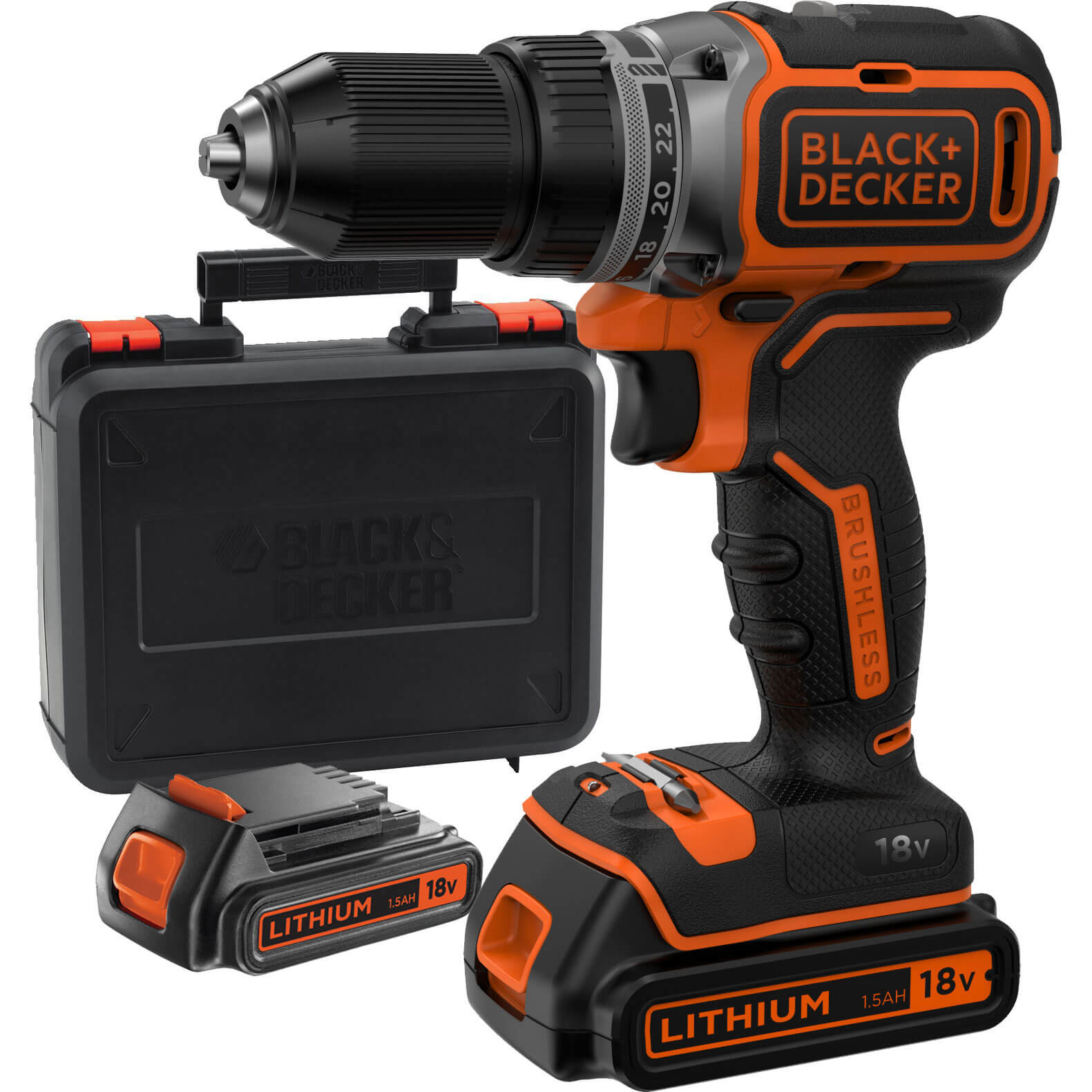 Black & Decker BL186 18v Cordless Drill Driver 2 x 1.5ah Liion Charger Case