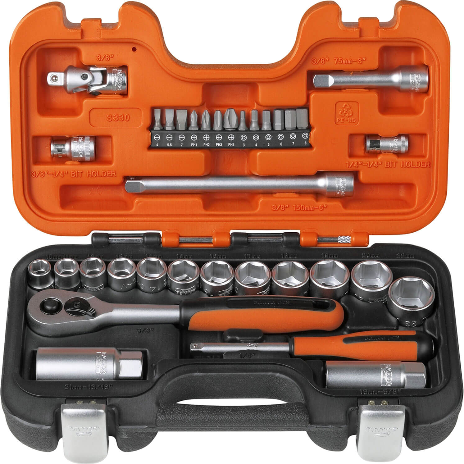 Bahco S330 34 Piece 1/4In & 3/8In Drive Socket Set Combination
