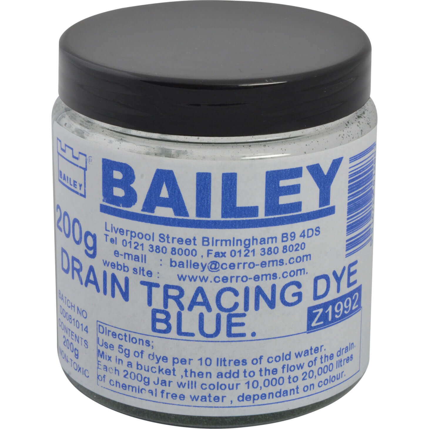 Bailey Drain Tracing Dye Blue 200g