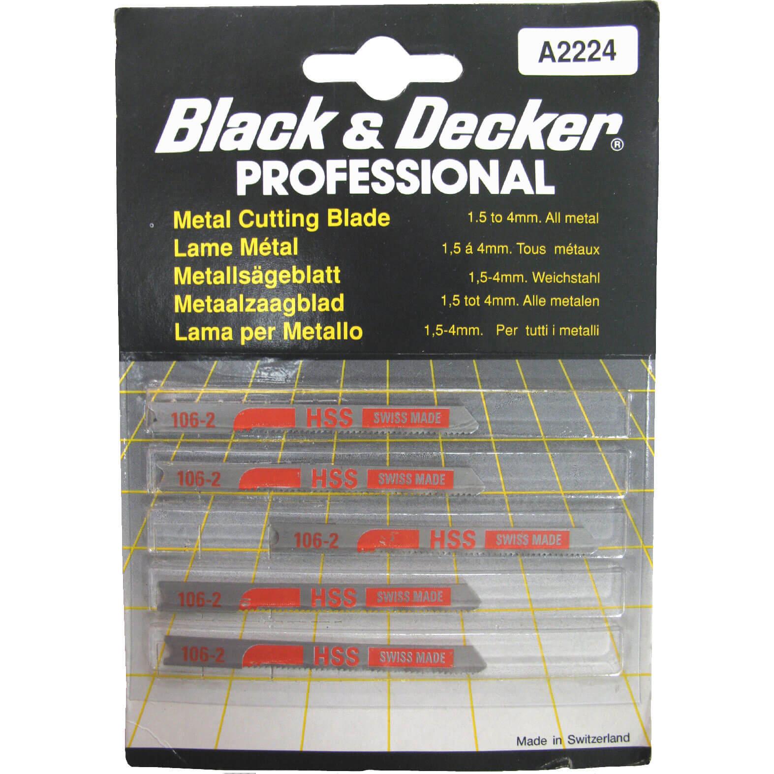 Image of Black & Decker A2224 Universal Metal Cutting Jigsaw Blades Pack of 5