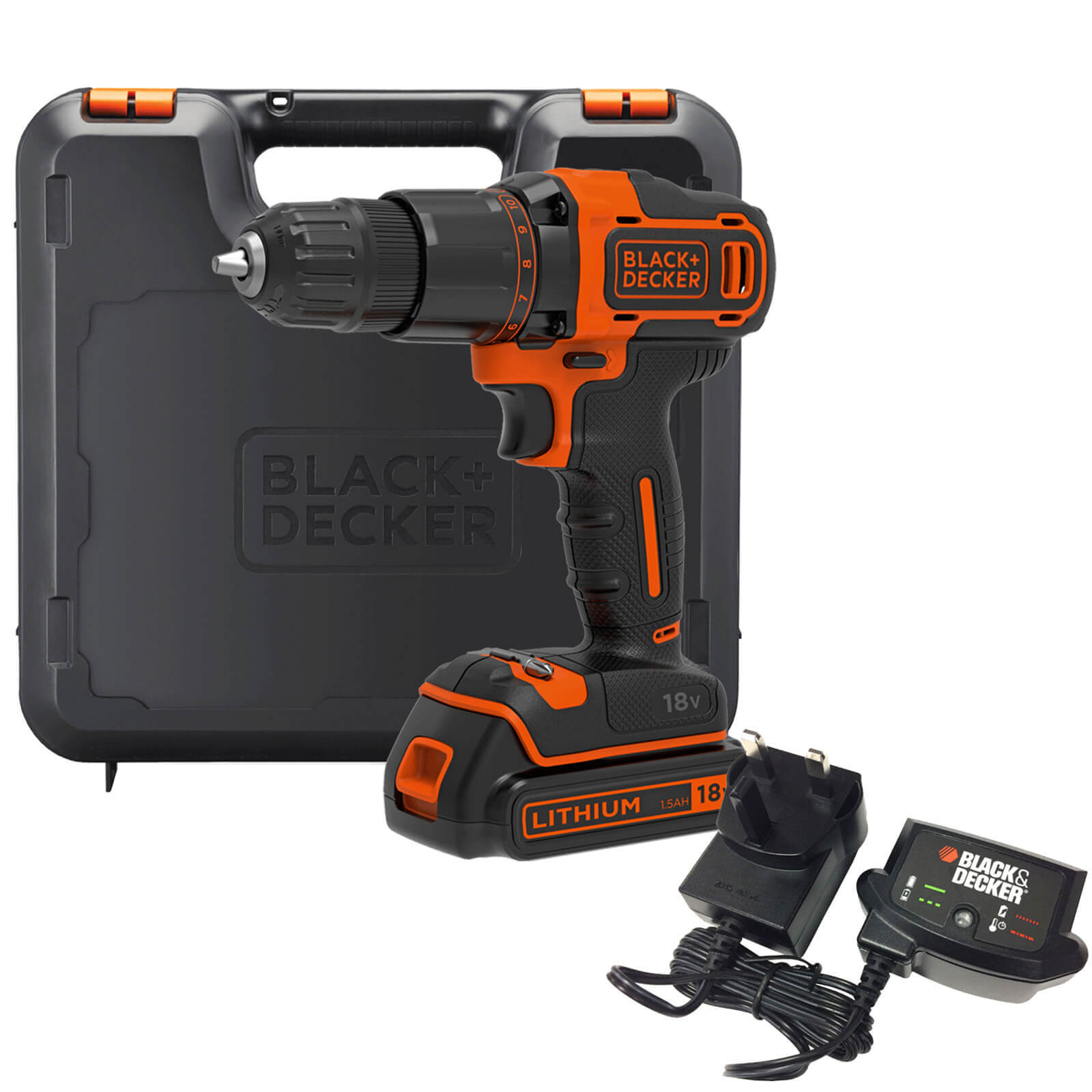 Image of Black & Decker BCD700S 18v Cordless Combi Drill 1 x 1.5ah Li-ion Charger Case