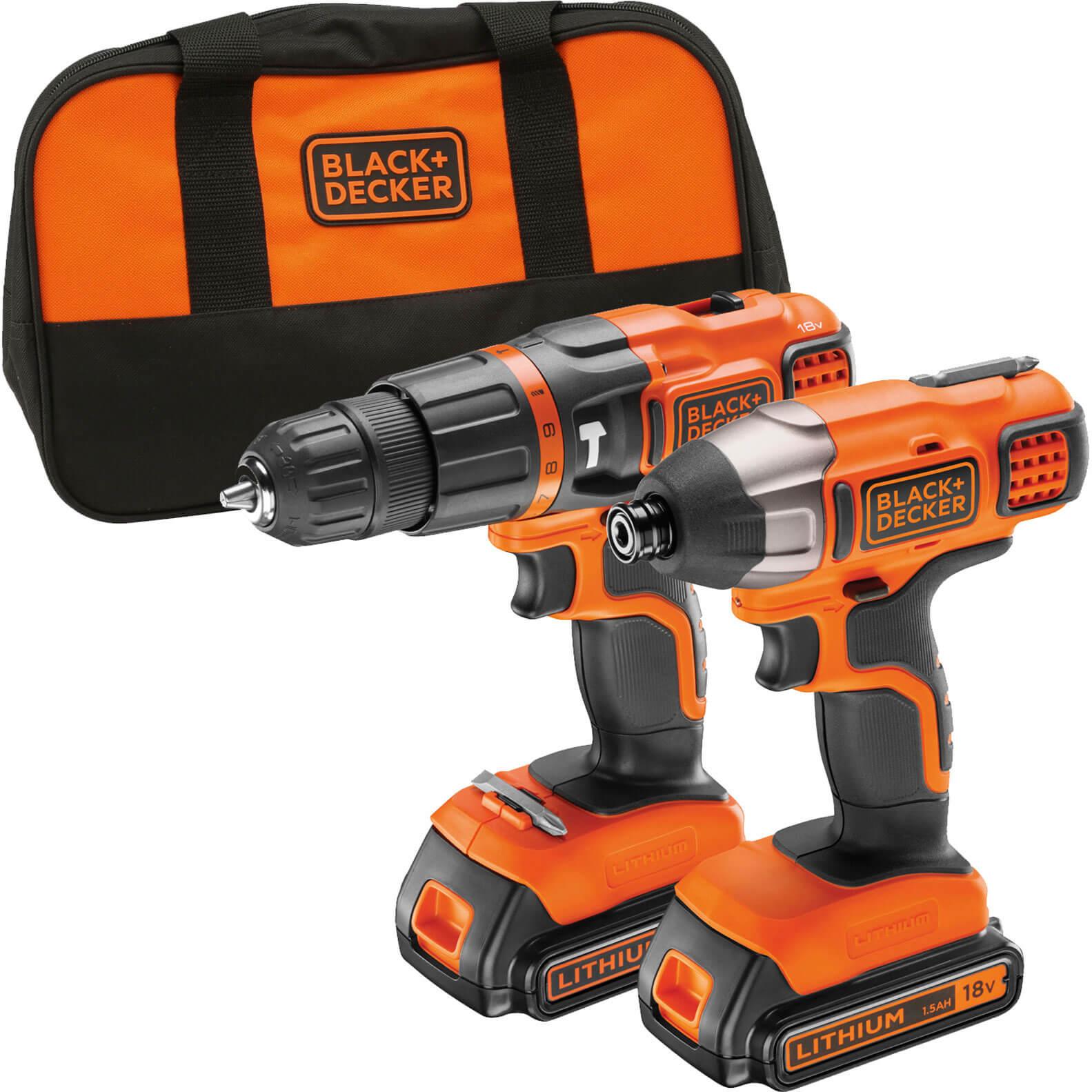 Black & Decker BDCHIM18B 18v Cordless Combi Drill & Impact Driver 2 x 1.5ah Liion Charger Bag