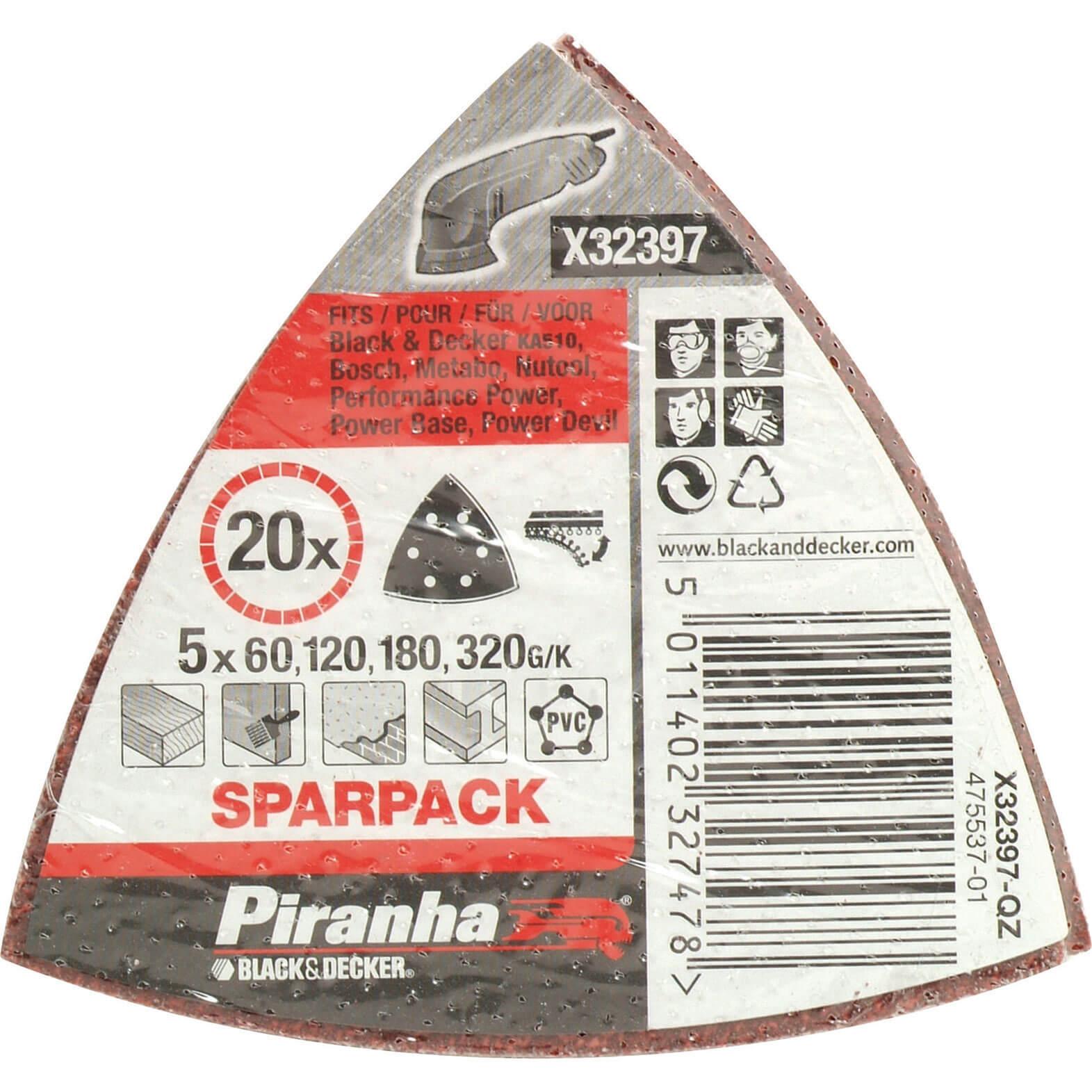 Image of Black & Decker Piranha Quick Fit Delta Sanding Sheets Assorted Grit Pack of 20