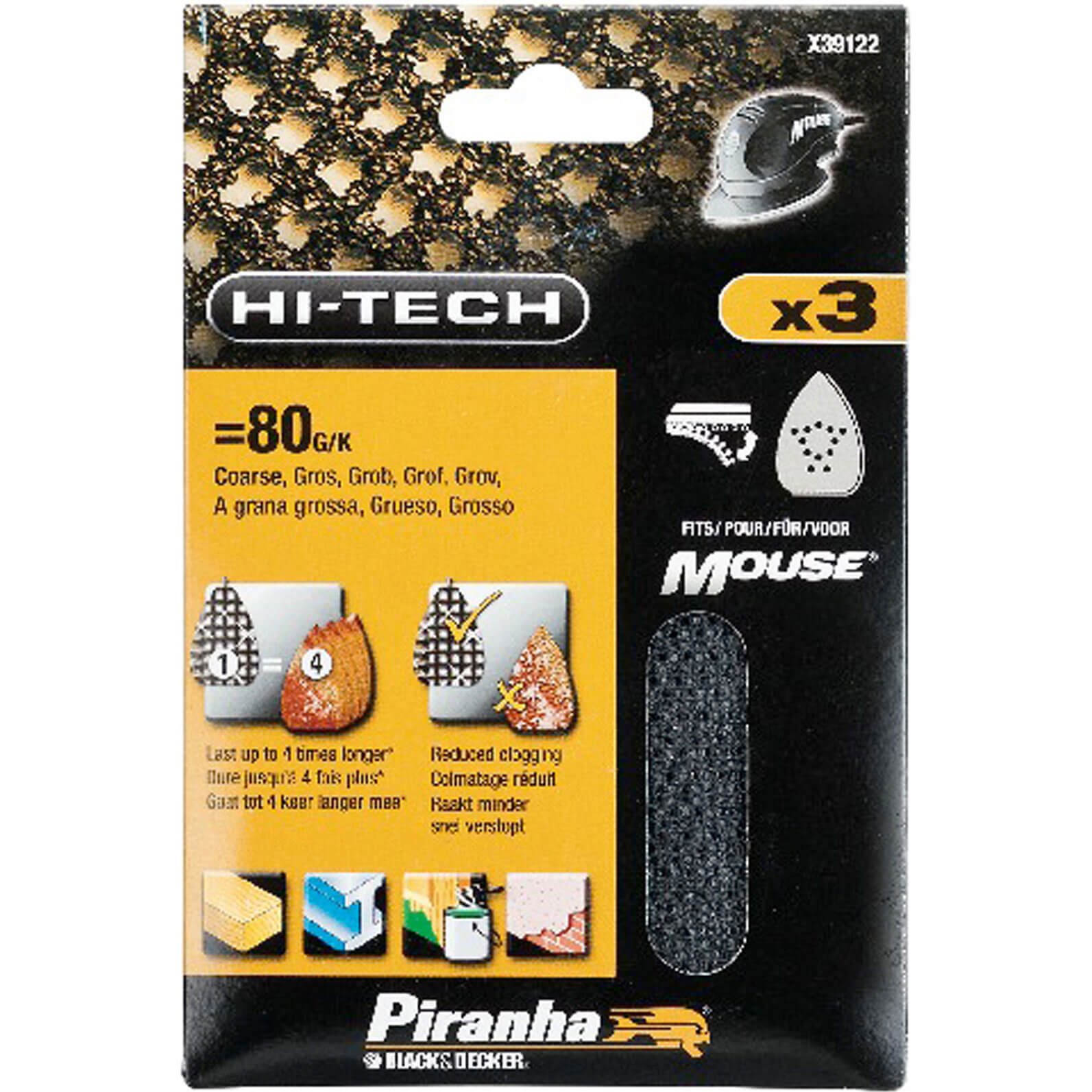 Black and Decker Piranha Hi Tech Quick Fit Mesh Mouse Sanding Sheets 240g Pack of 3